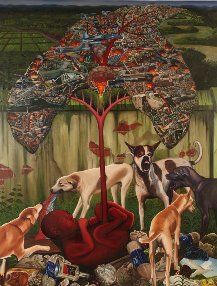 RATHEESH T., War Baby, 2010, oil on canvas