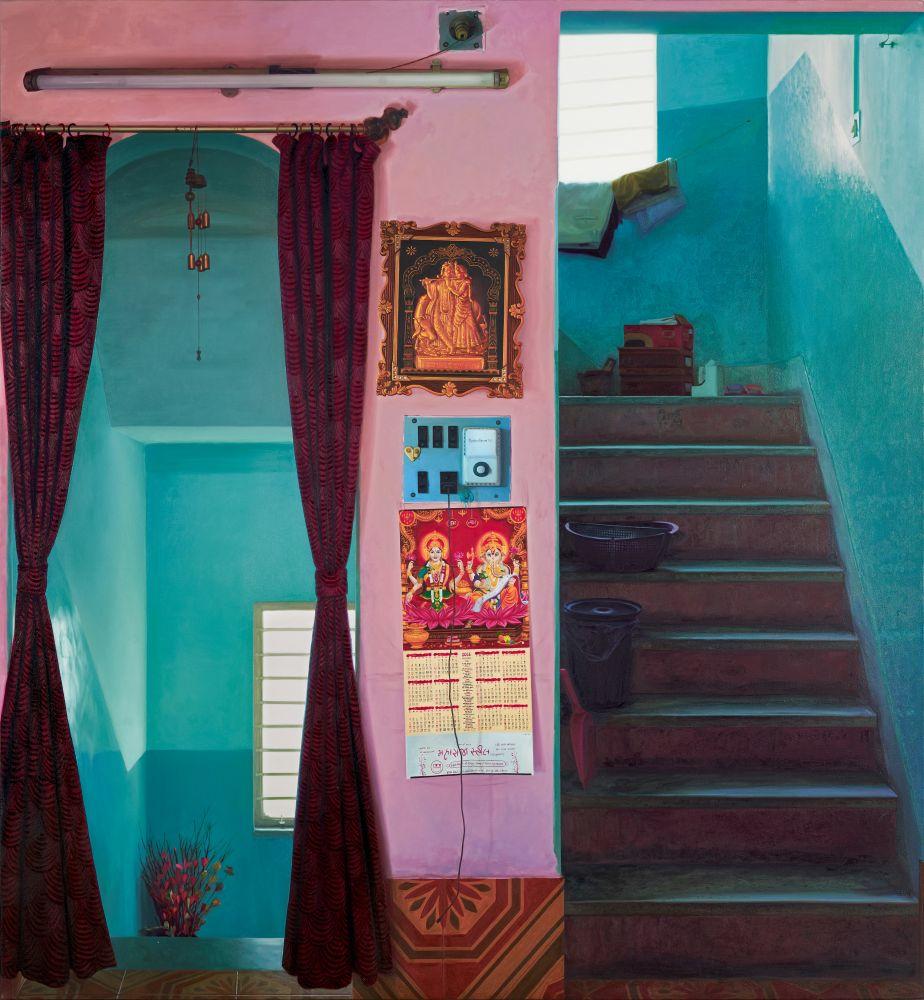 ABIR KARMAKAR Displacement (Wall III), 2017  Oil on canvas