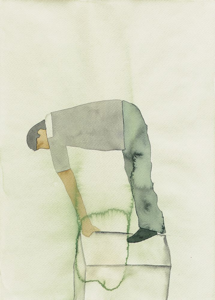 Atul Dodiya, 'Civitella Ranieri', 1999, Watercolours, person leaned over