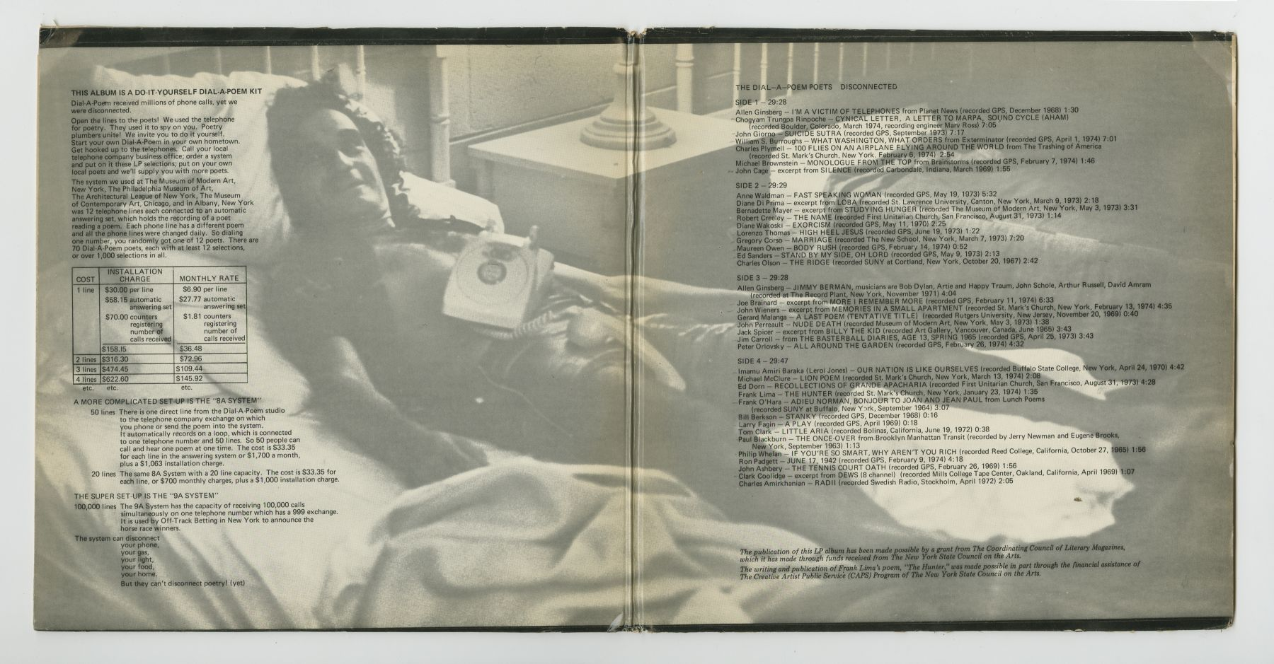 The Dial-A-Poem Poets: Disconnected (1974), inside spread