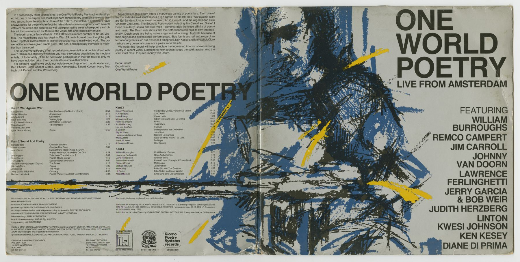 One World Poetry Live from Amsterdam (1981), front and back covers