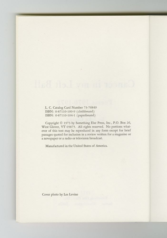 Cancer in My Left Ball, 1973 (4) – Colophon