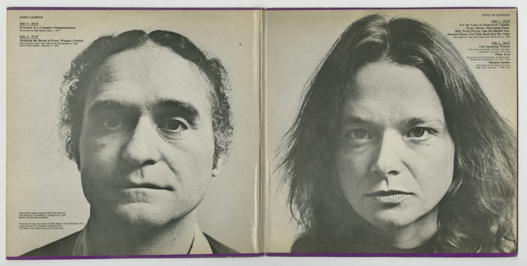 John Giorno and Anne Waldman: A Kulchur Selection (1977), inside spread