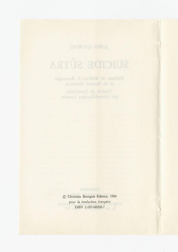 Suicide Sûtra, 1980 (5) – Colophon