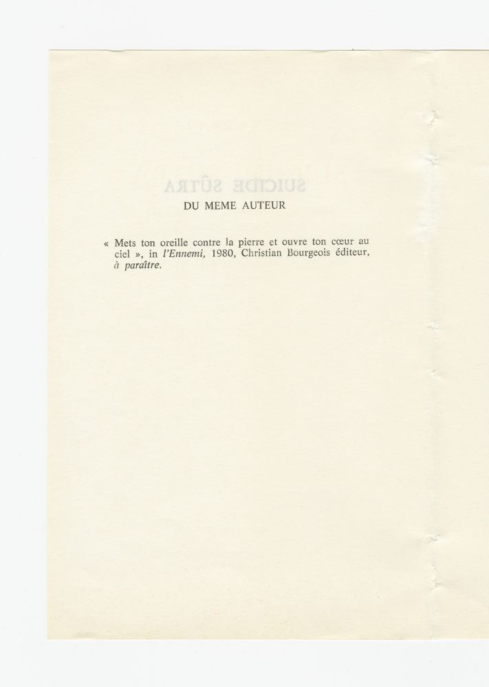 Suicide Sûtra, 1980 (3) – By the same author