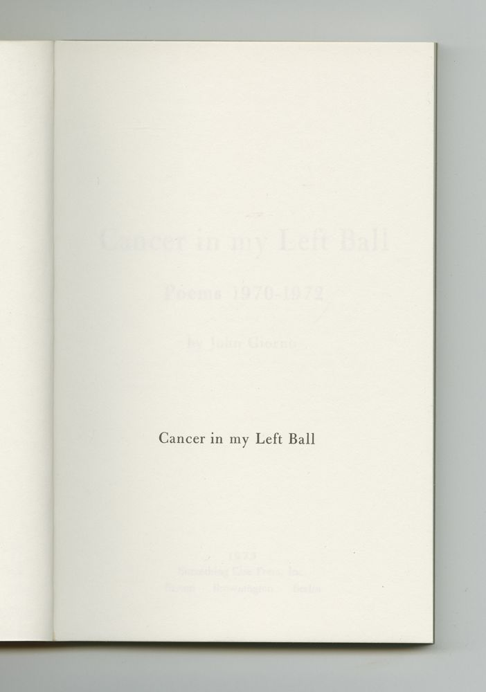Cancer in My Left Ball, 1973 (2) – Half-title
