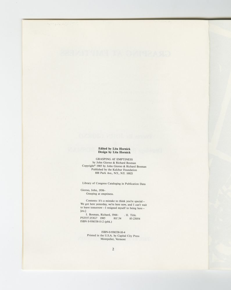 Grasping At Emptiness, 1985 (3) – Colophon
