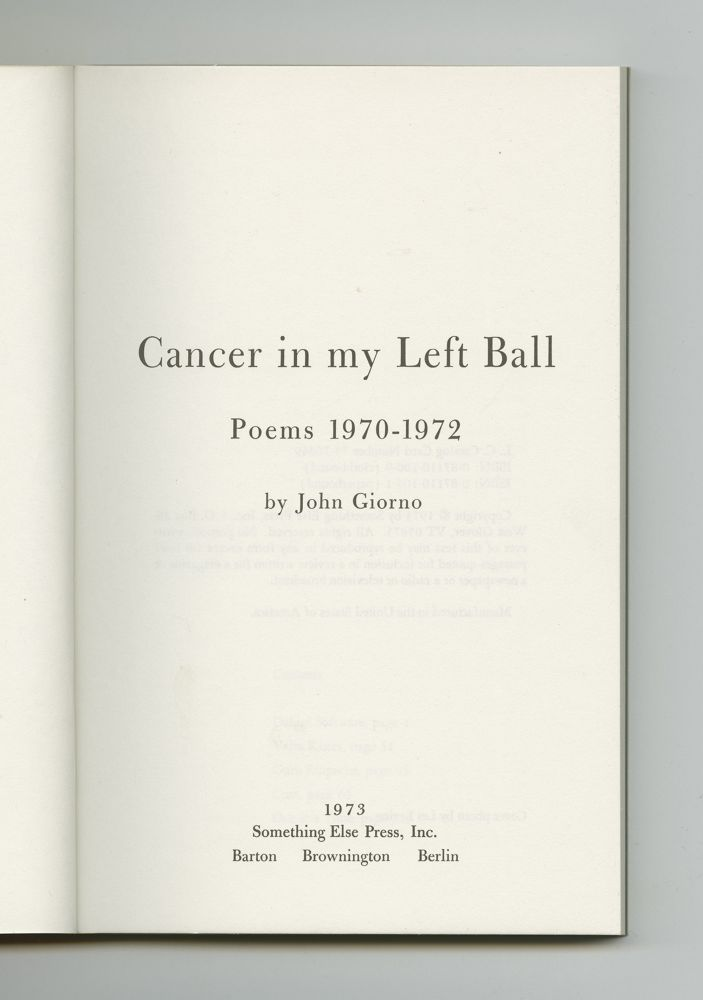 Cancer in My Left Ball, 1973 (3) –Title page