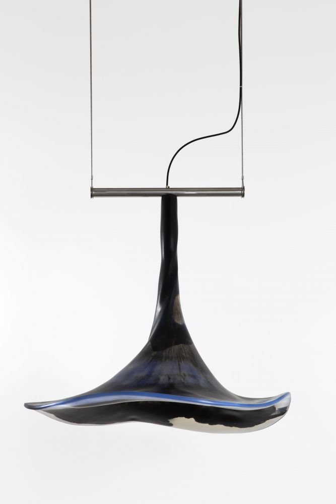 Trapeze Chandelier, Black and Blue