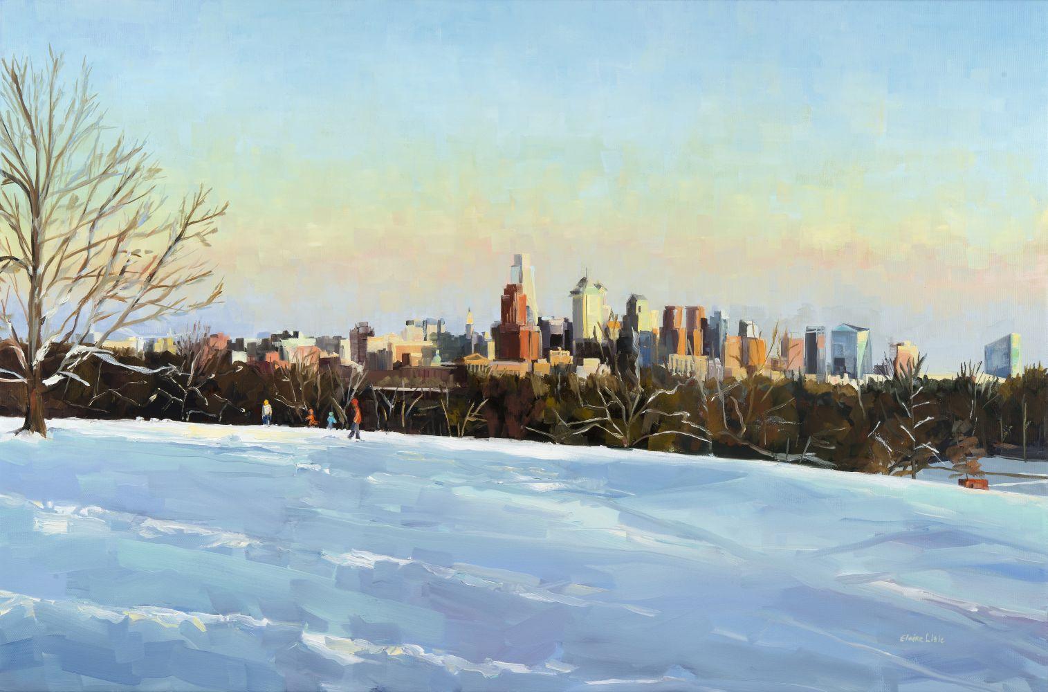 """Elaine Lisle, Sledding With A View 24"""" x 36""""  Oil On Canvas"""