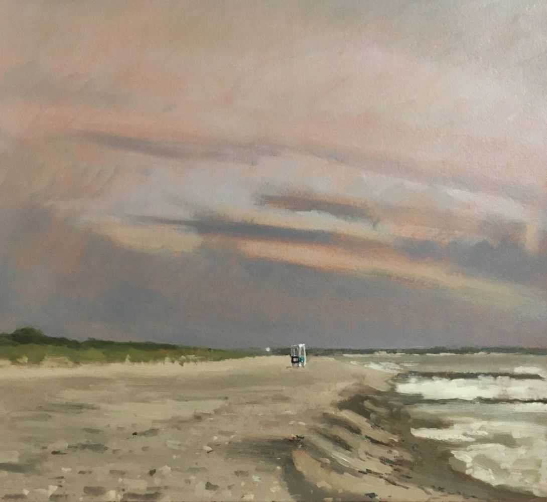 Giovanni Casadei, Before the Rain, oil on panel,  12.5 x 13.5 inches