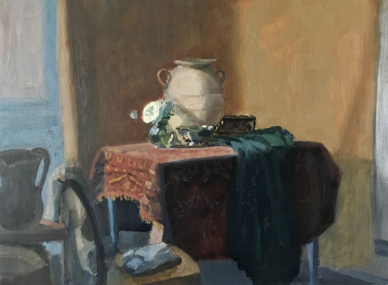 Giovanni Casadei, Interior with Water Jug, oil on panel,  14 x 19 inches