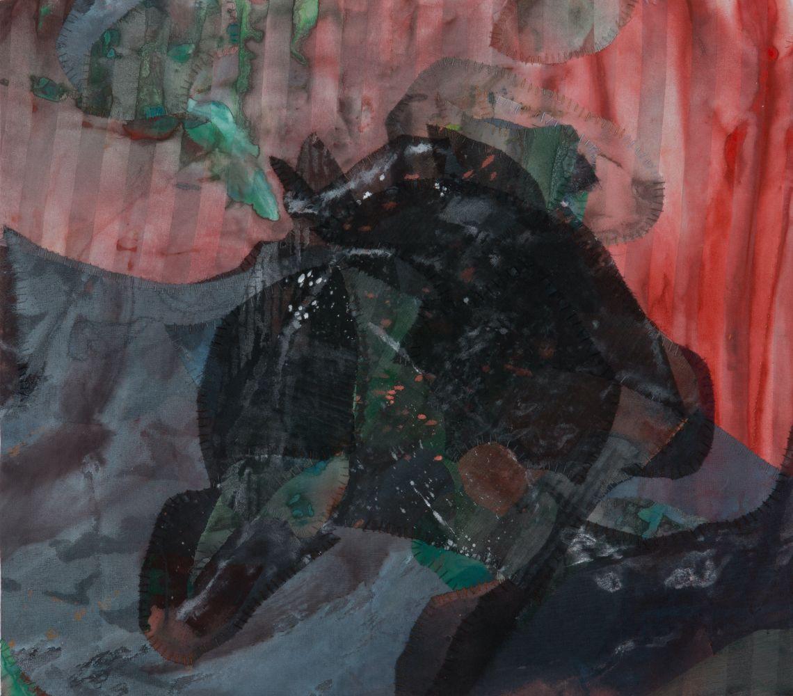 "Emily Richardson, Whirlpool Valley 14"" x 16""   Acrylic And Thread On Silk"