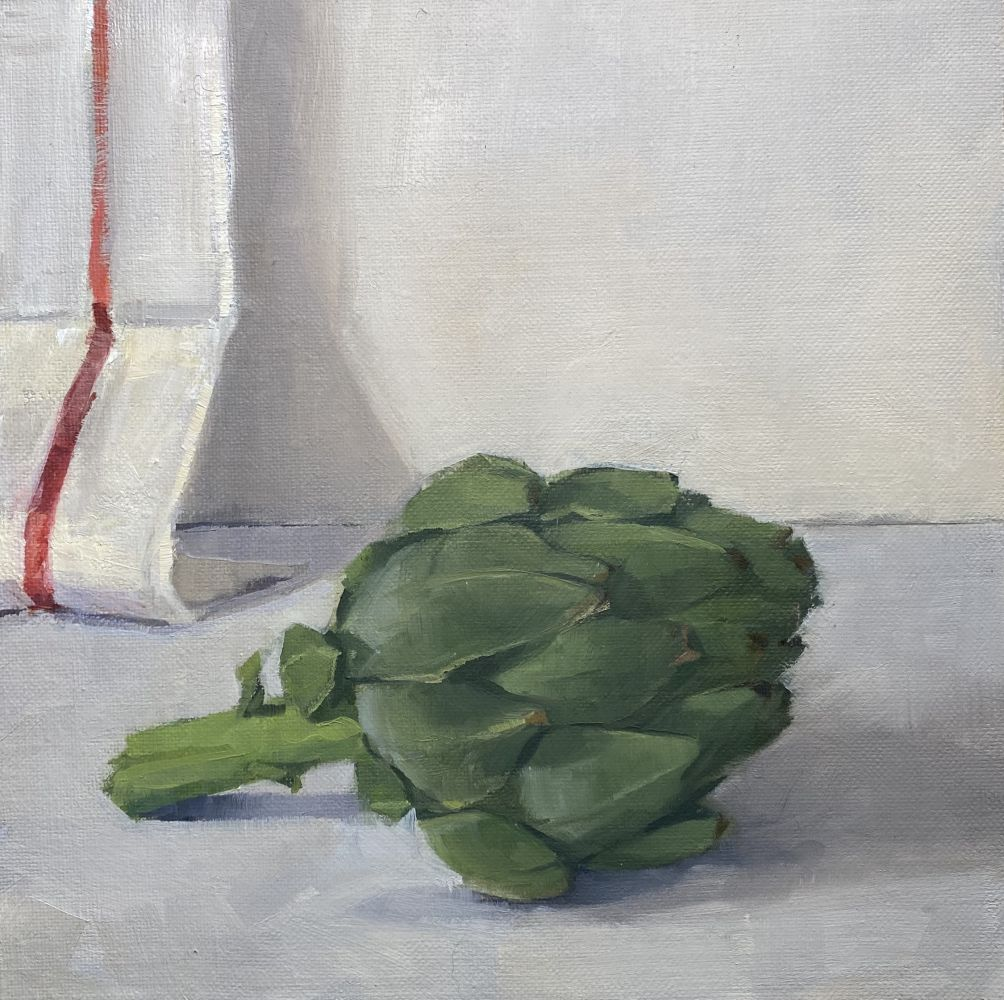 Jeff Reed, Artichoke, oil on panel, 8 x 8 inches