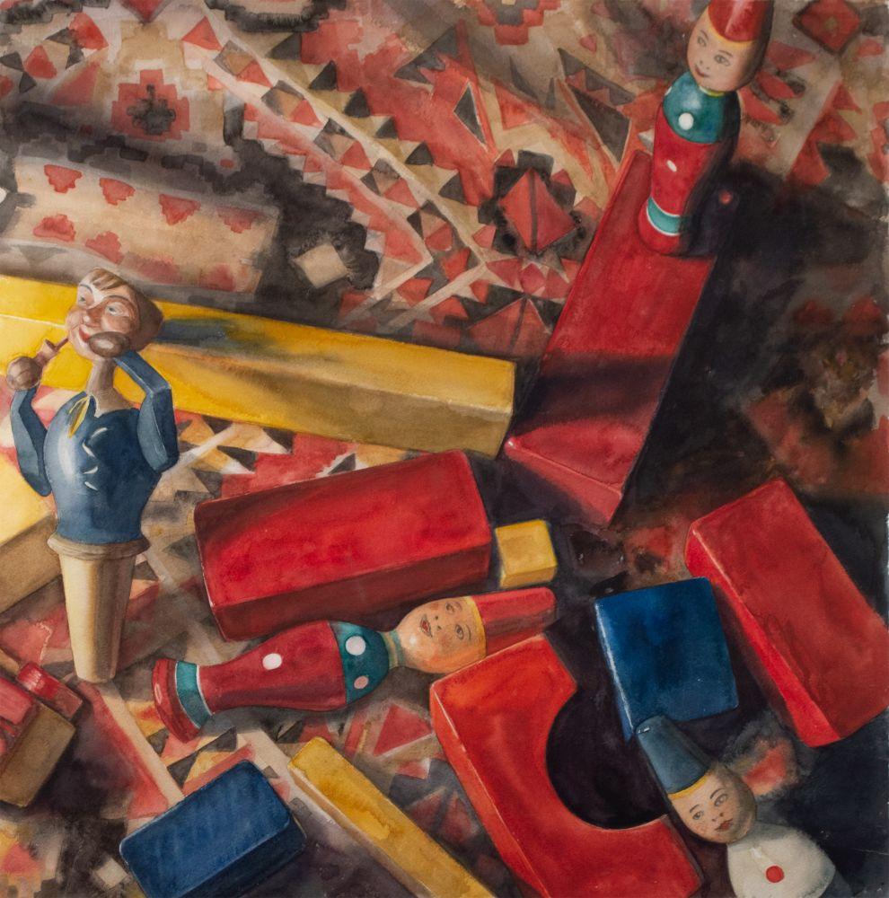 "Eileen Goodman, Toppled 29.5"" x 29""  Watercolor"