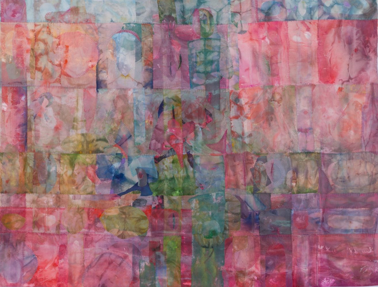 "Emily Richardson, Spin 38"" x 50""   Acrylic And Thread On Silk"