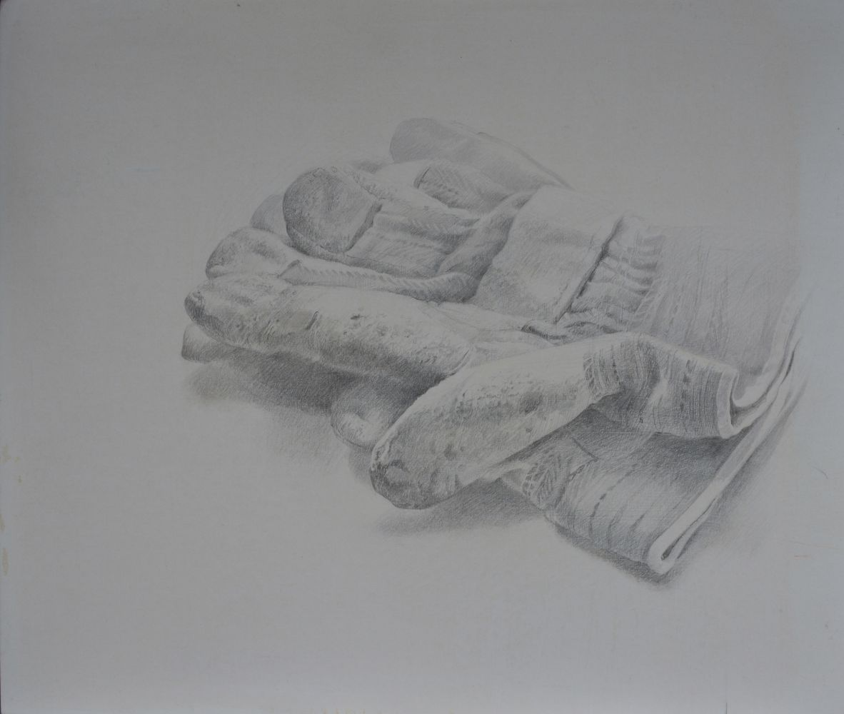 """Dale O. Roberts, Gloves 10"""" x 12""""  Silverpoint"""