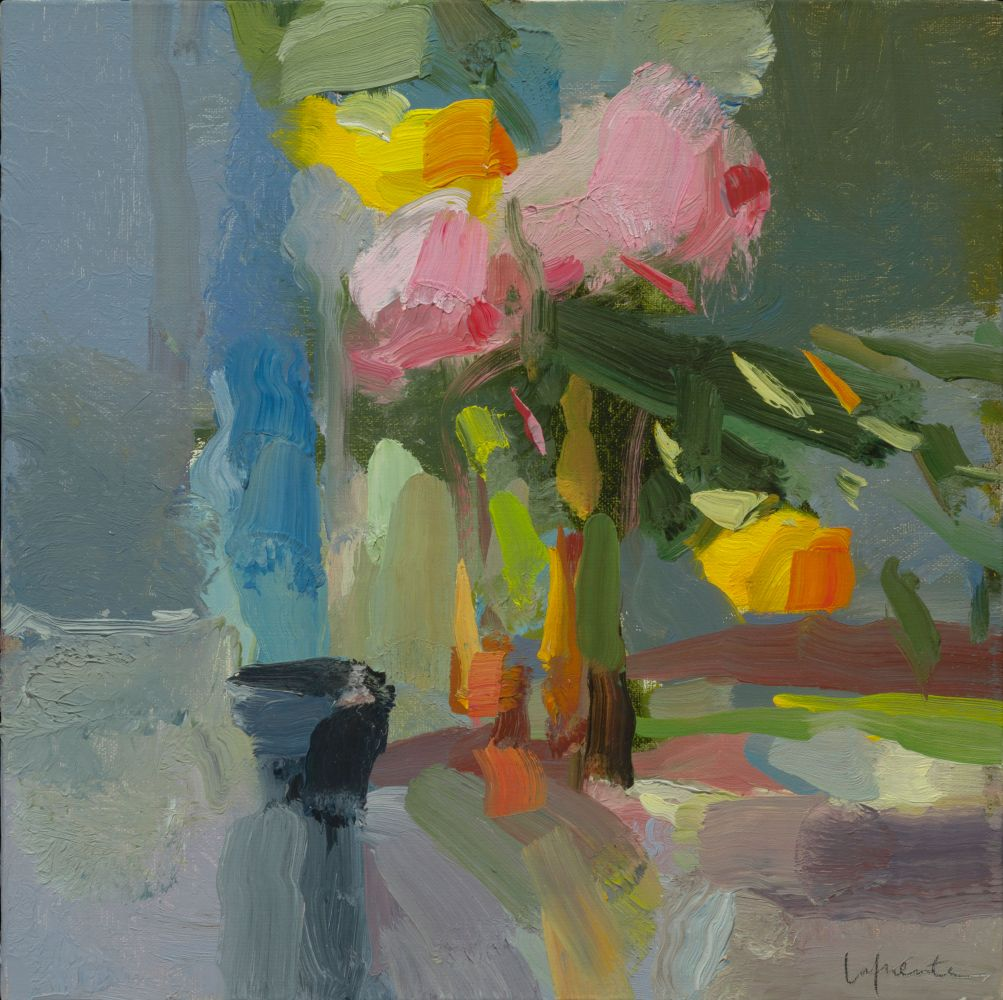 """Christine Lafuente, Peonies and Yellow Roses  10"""" x 10""""  Oil On Linen"""