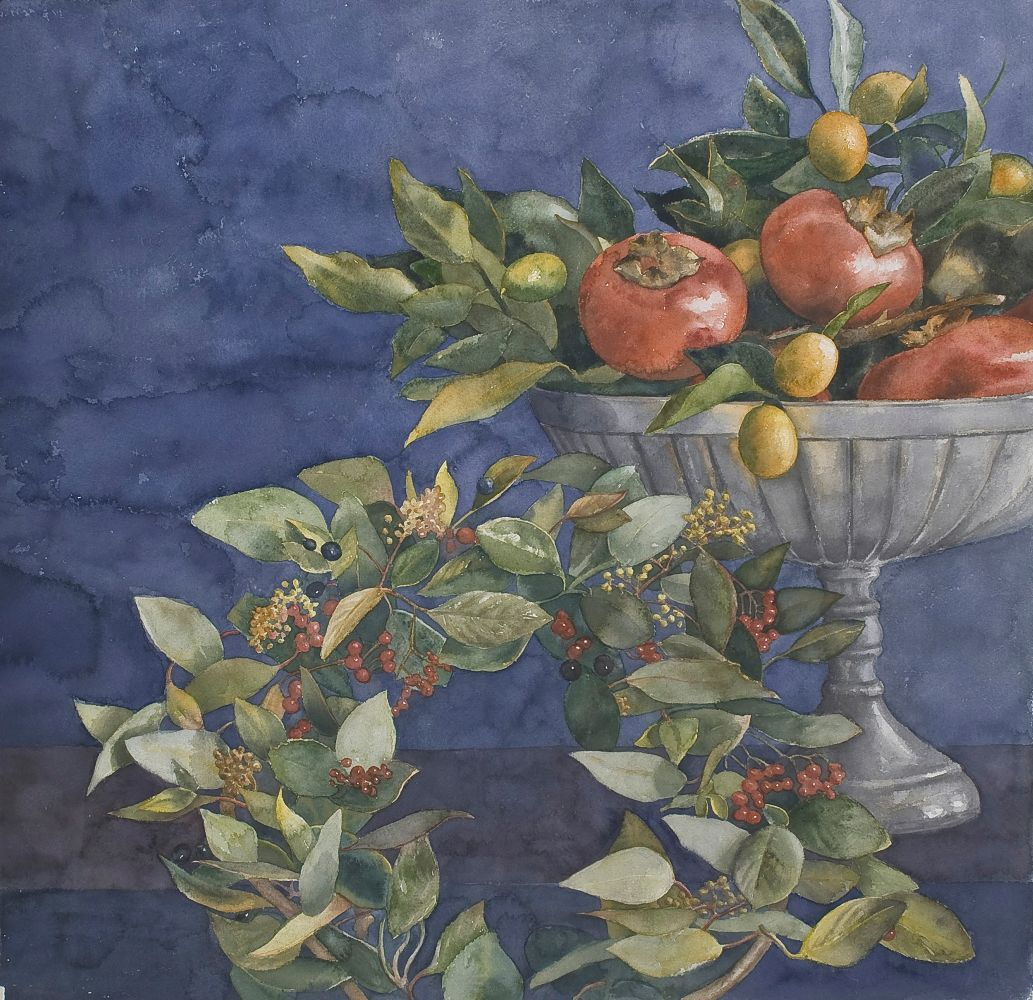 """Eileen Goodman, Still Life with Propped Up Wreath 30"""" x 30""""  Watercolor"""