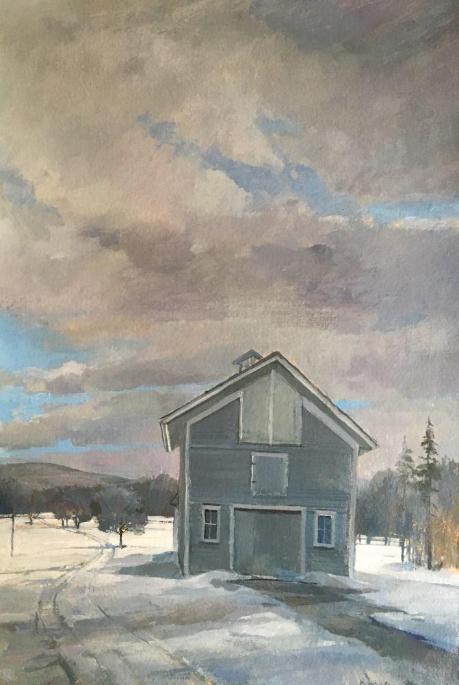 """Douglas Martenson, Winter  22"""" x 15""""  Oil On Board"""