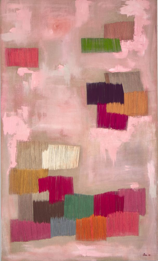 "Natasha Das, Untitled Pink 60"" x 36""  Oil And Thread On Canvas"