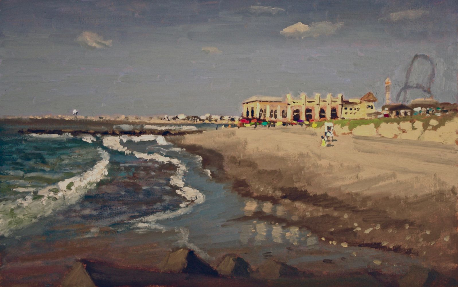 Giovanni Casadei, Distant Music Pier, oil on panel,  9 x 14 inches