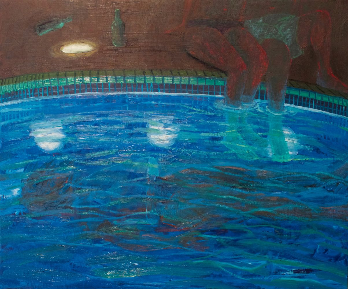 "Leigh Werrell, Night Swim 25.5"" x 21""  Oil On Panel"