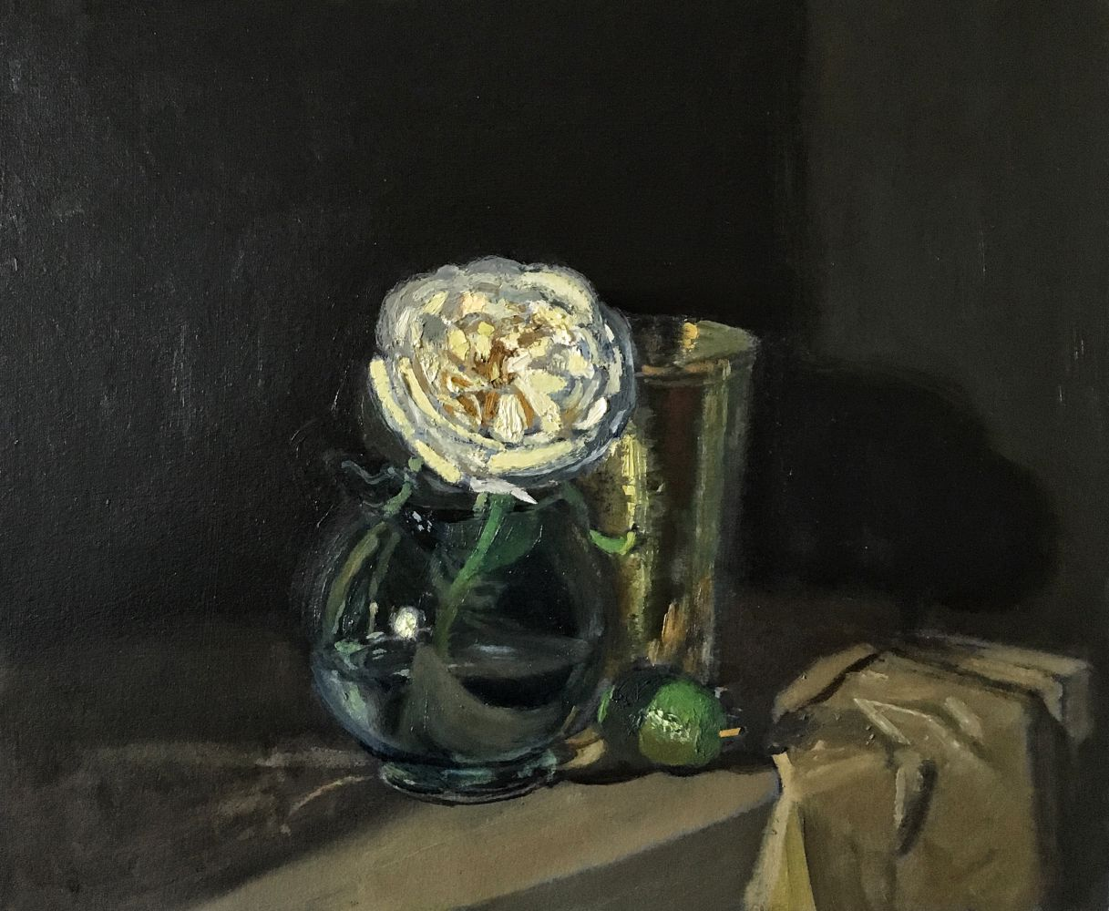Giovanni Casadei, White Rose and Lime, oil on panel,  10.5 x 12.5 inches