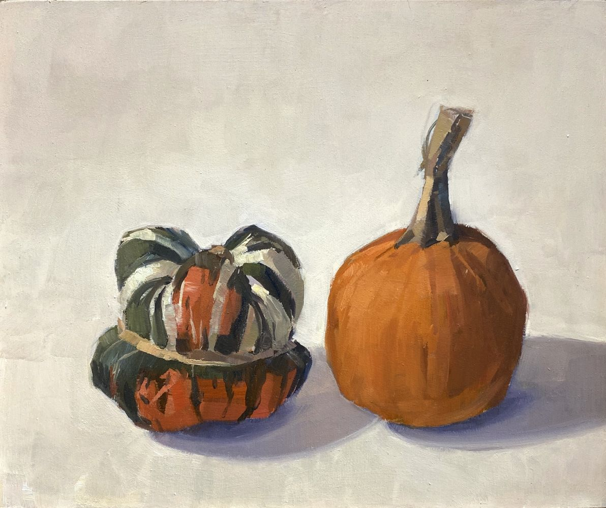 Jeff Reed, Turk's Turban and Pumpkin, oil on panel, 10 x 11 inches