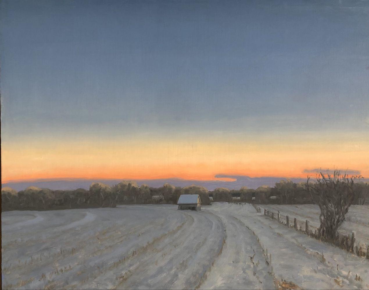 """Max Mason, Winter Corn Crib 24"""" x 30""""  Oil On Canvas"""