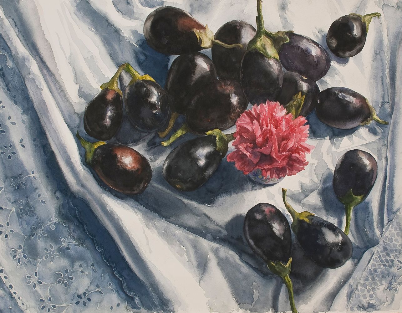 "Eileen Goodman, Carnation With Baby Eggplants  30"" x 38""  Watercolor"
