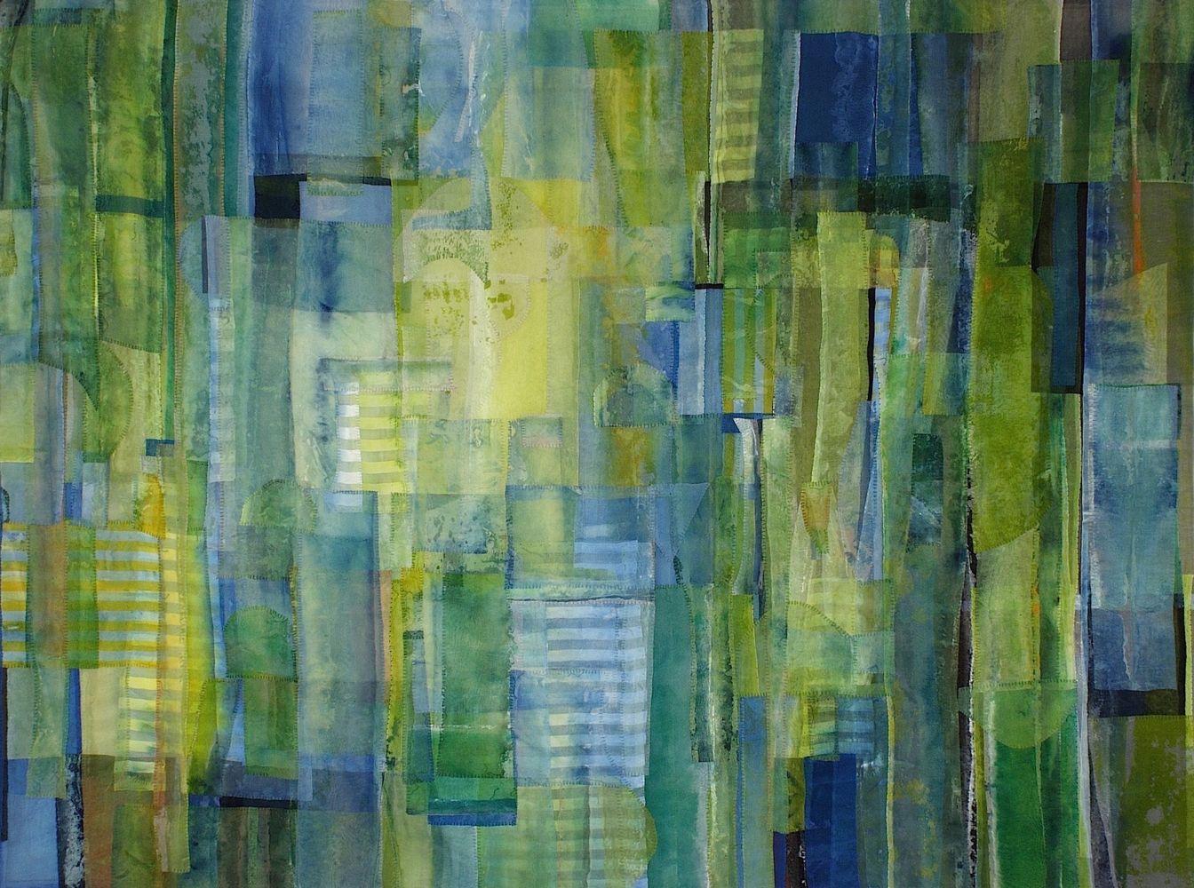 Emily Richardson, Cloud Forest  42″ x 56″  Acrylic And Thread On Silk