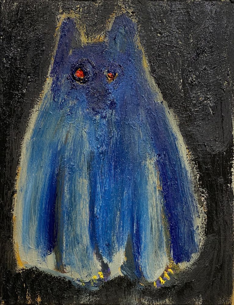 "Morgan Hobbs, Scaredy Cat - Blue  18"" x 14""  Oil On Canvas"