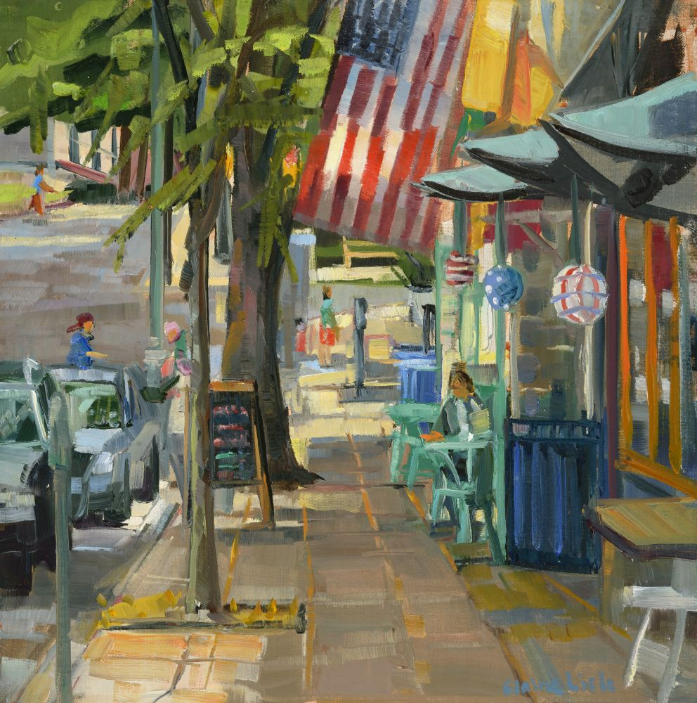 "Narberth Flags  10"" x 10""  Oil On Board"