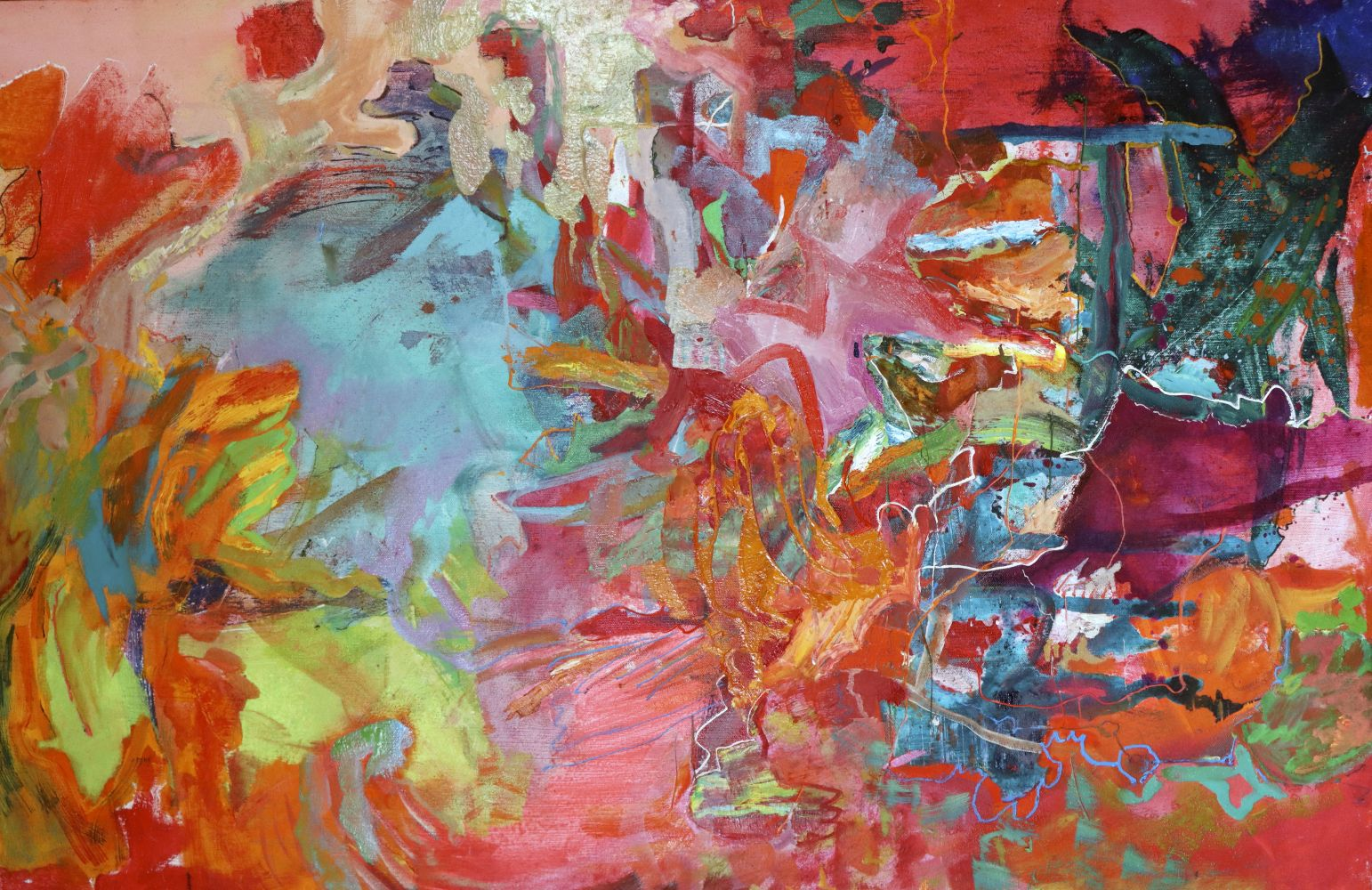 "Artist Benjamin Passione, 24.5"" by 38"", Oil On Canvas, Titled Abstraction In Red"