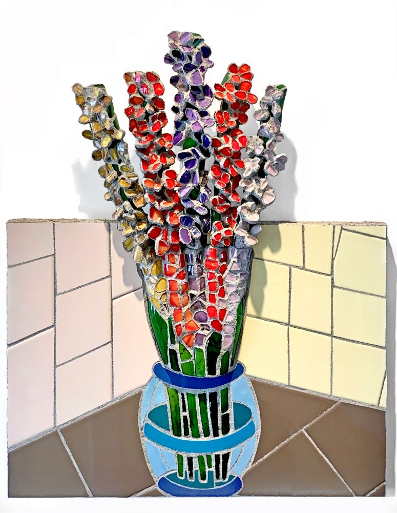 """Gladiolus  30"""" x 24""""  hand-blown glass shards and ceramic tile"""