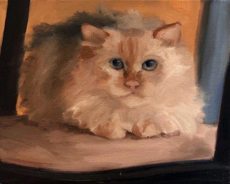 "Christina Leone, Fluffy 8"" x 10""  Oil On Canvas"