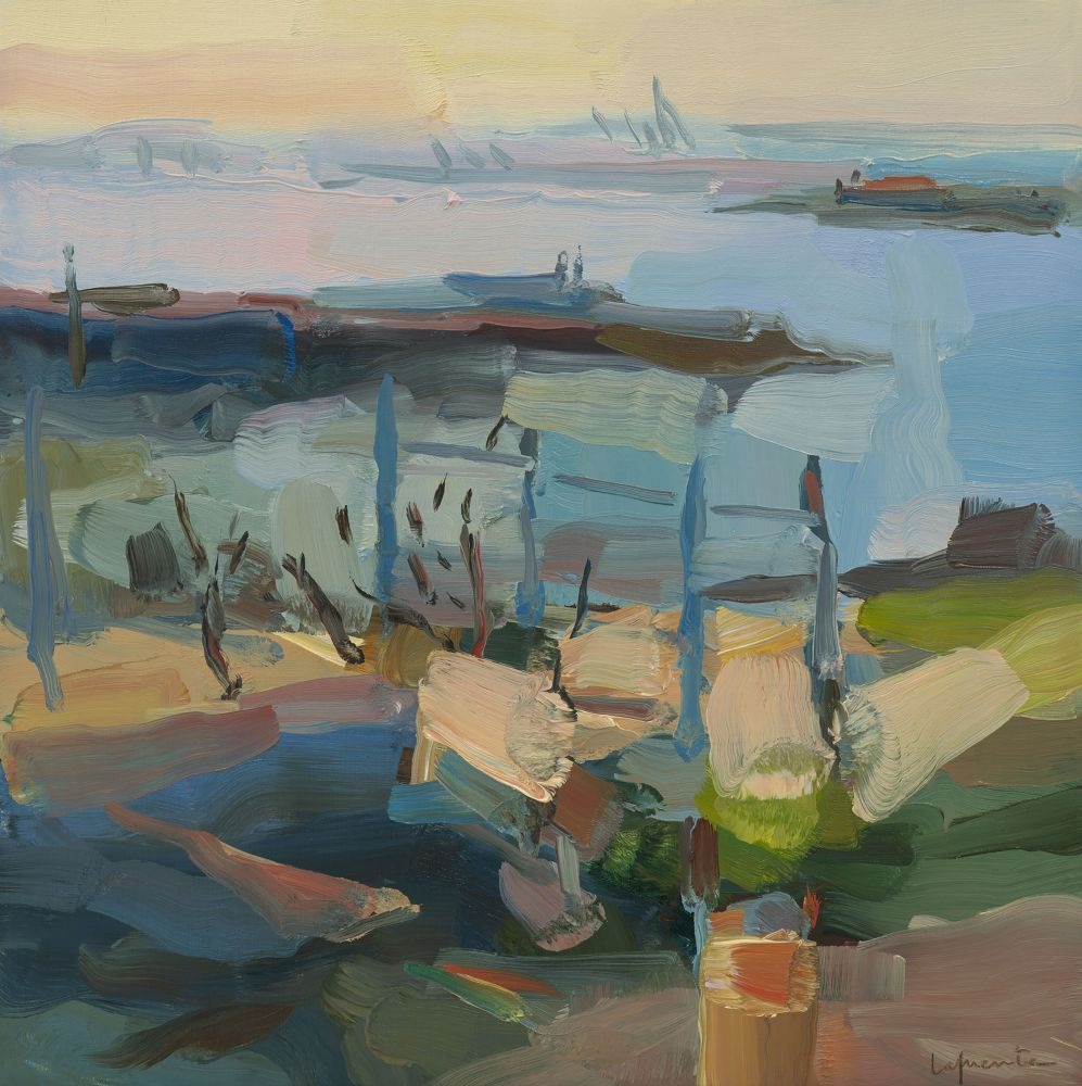 Broken Pier and Old Fence 14x14 oil on linen 2020