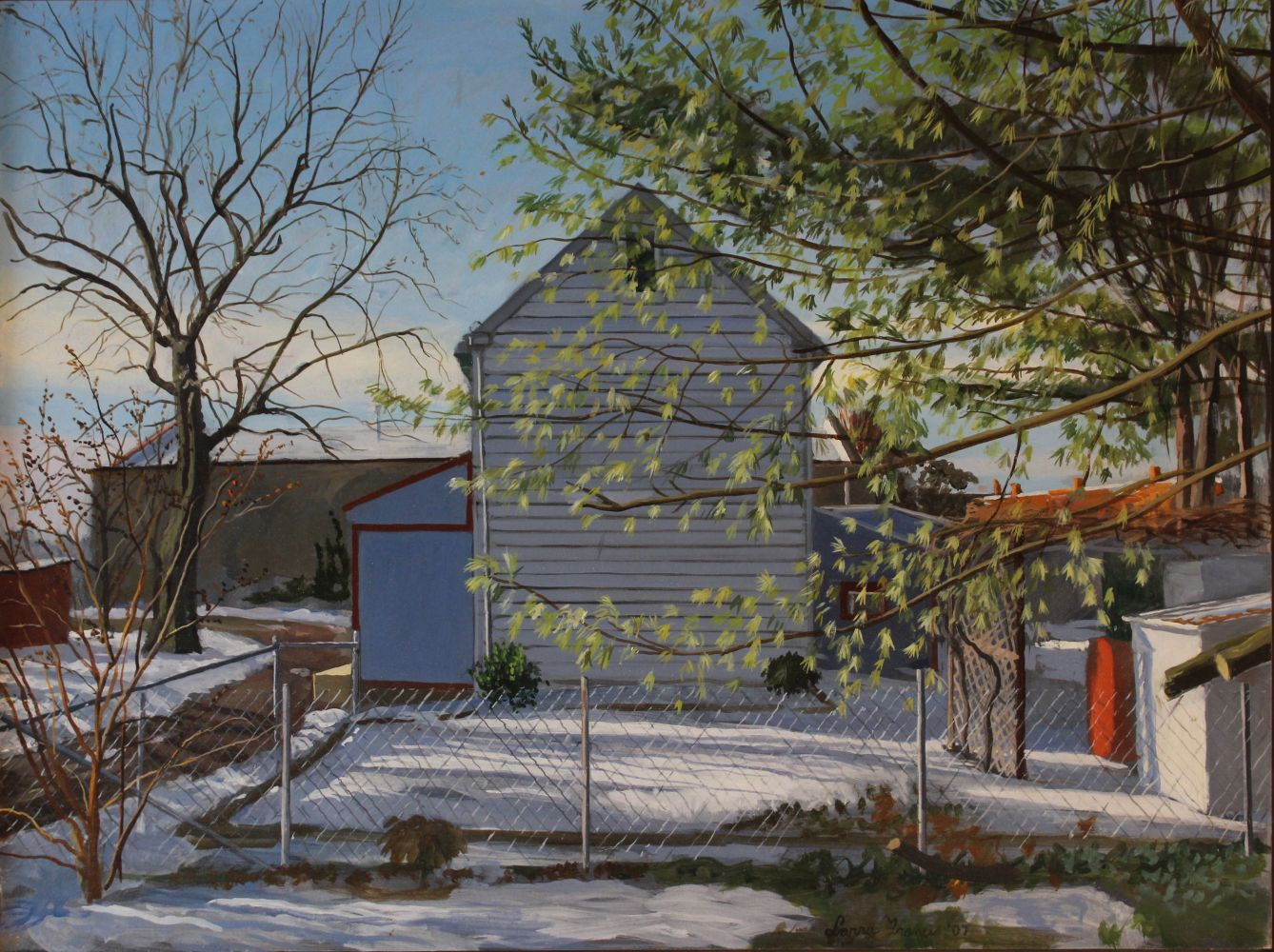 "My Yard, Winter  18"" x 24""  Oil On Panel"