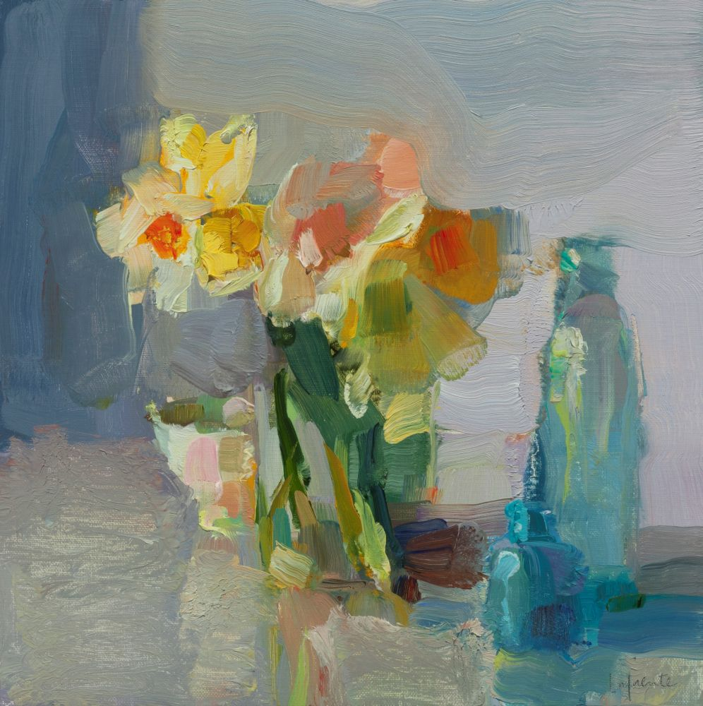 "Daffodils And Blue Bottles  10"" x 10""  Oil On Mounted Linen"