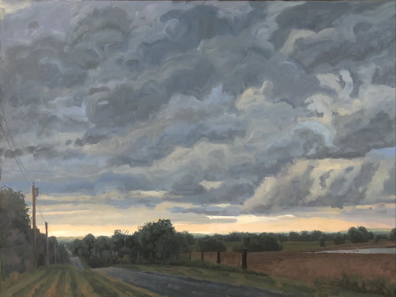 Approaching Storm, Saline County  22″ x 40″  Oil On Canvas