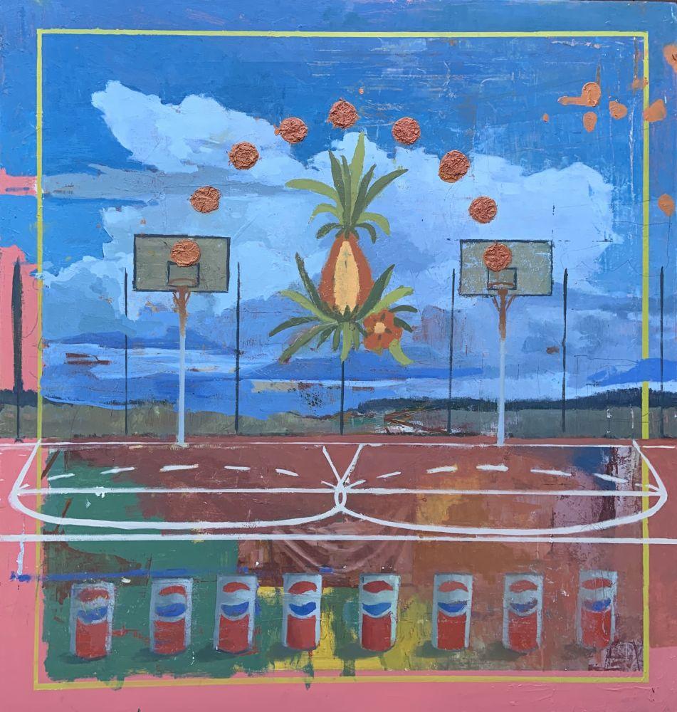 "Joe Lozano, Jacob and Esau  28"" x 26""  Oil On Panel"