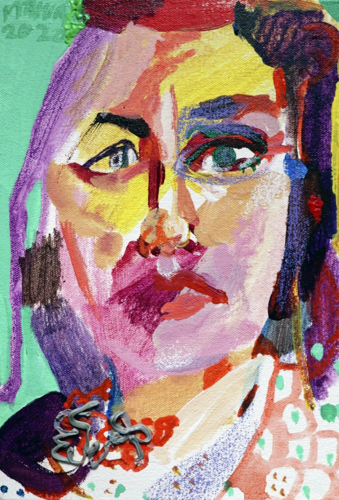 "A.L. With Sweater  12.5"" x 8.5""  Mixed Media On Stretched Canvas"
