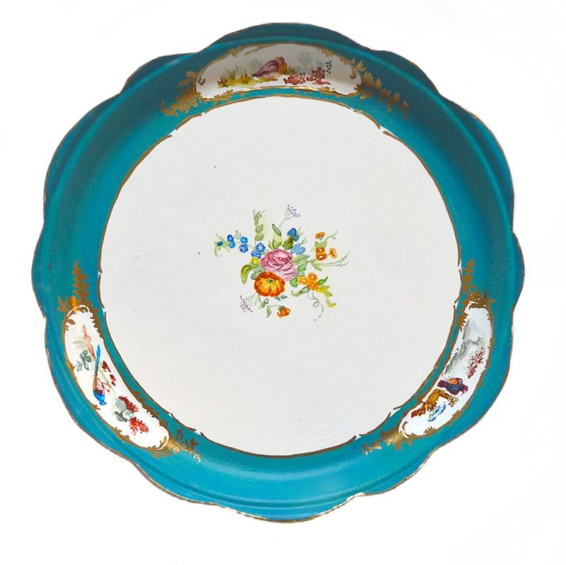 """Private Collection Series: Sevres Porcelain Factory, Sevres, France, 1756 - Present  mixed media on paper plates  9"""" round"""