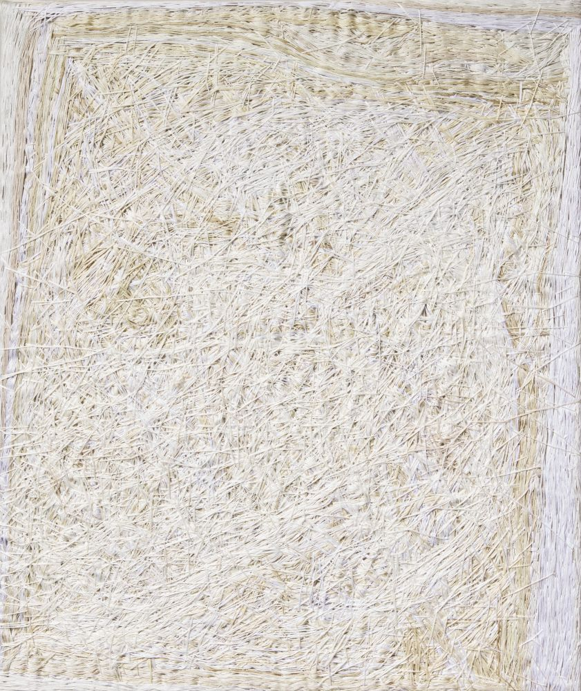 """Color Composition White  31"""" x 26""""  Thread On Linen"""