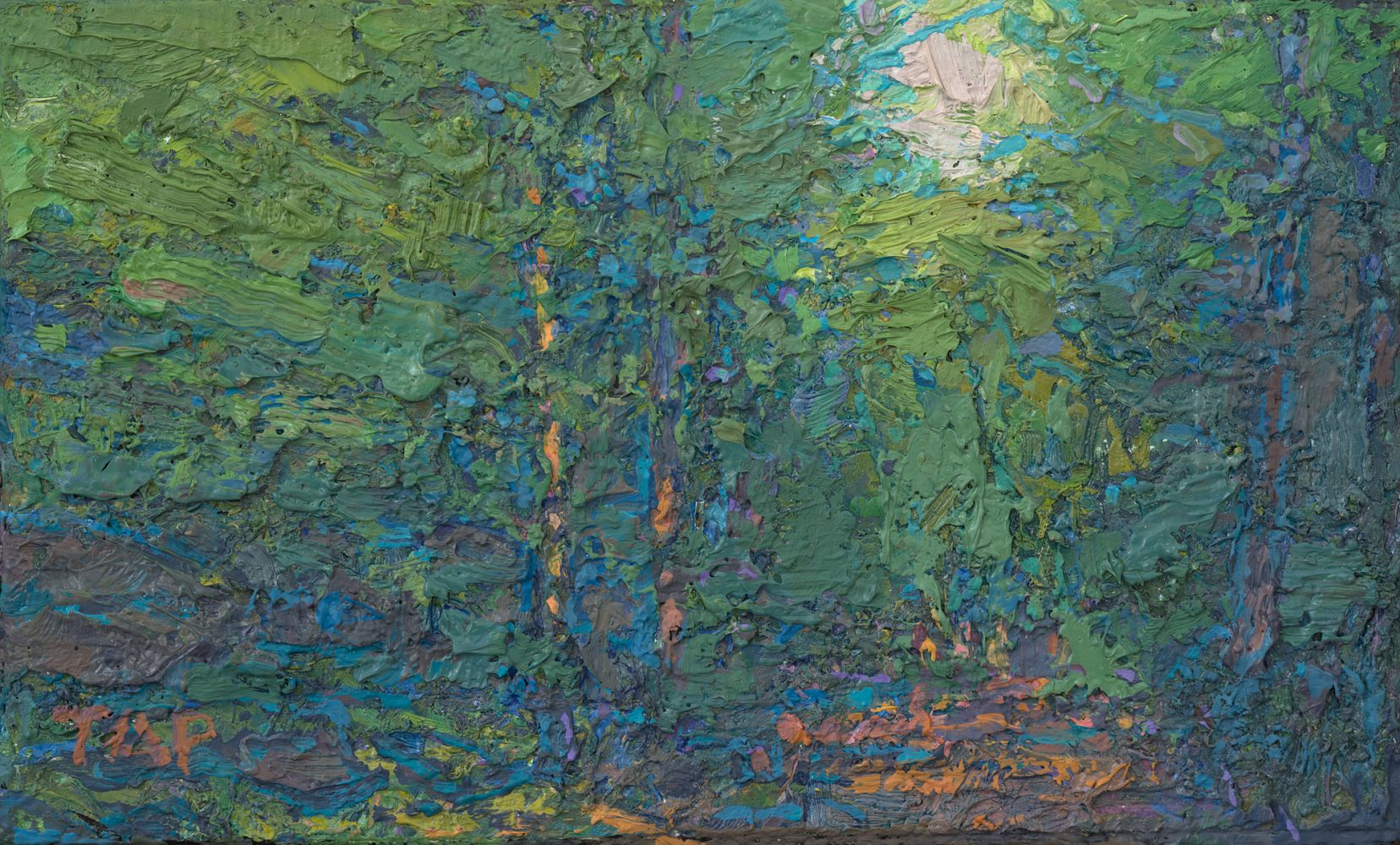 """Thomas Paquette, Ironwood Trail Study II (Green) (SOLD)  3.13"""" x 5.13""""  Oil/Linen/Mounted On Wood Panel"""