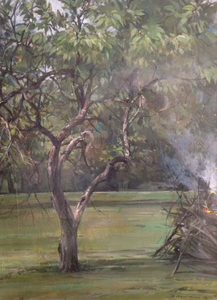 """Apple Tree With Burning Pile  24"""" x 18""""  Oil On Panel"""