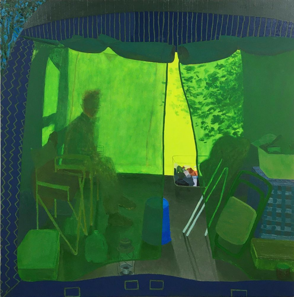 "Leigh Werrell, Camping With Henry  28"" x 28""  Oil On Panel"