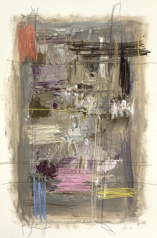 """Work On Paper Gray  22"""" x 15""""  Oil, Thread, And Gel Medium On Paper"""