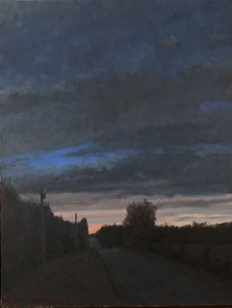 "Twilight, Saline County  24"" x 22""  Oil On Canvas"
